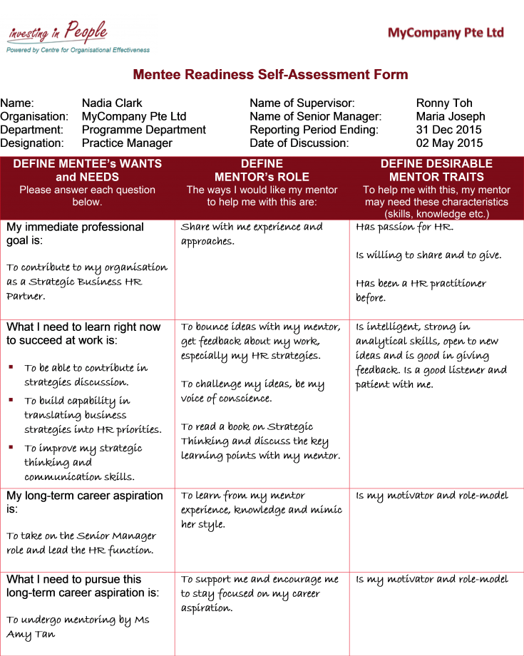 Mentee Readiness Self-Assessment Form